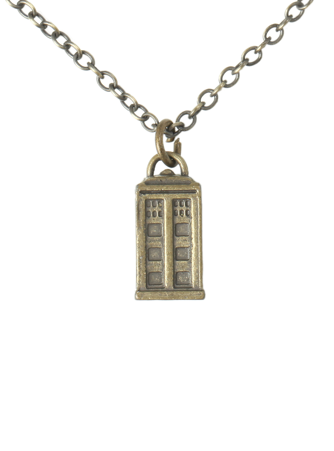 doctor who brass colored tardis necklace