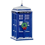 TARDIS Plastic Christmas Ornament with Wreath