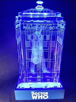TARDIS with Peter Davison Crystal Carvings with LED Display