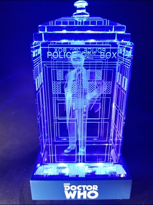 TARDIS with Sylvester McCoy Crystal Carvings with LED Display