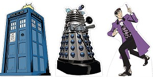 Comic Doctor, Dalek, and TARDIS Mini Standee Set