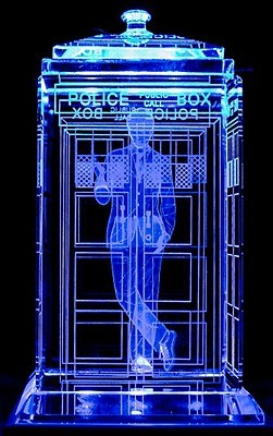 TARDIS with David Tennant Crystal Carvings with LED Display