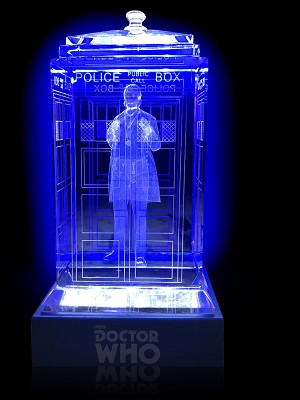 TARDIS with William Hartnell Crystal Carvings with LED Display