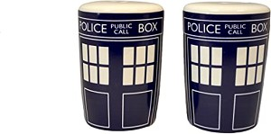 Round TARDIS-style Salt and Pepper Set
